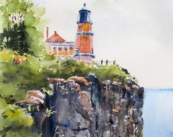 Split Rock Lighthouse Lake Superior Duluth art print giclée