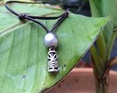 Man necklace, Tahiti pearl on Australian leather