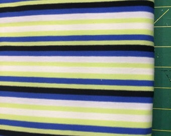 "Blue, White, Green and Black Striped Stretch Knit Fabric Destash - 1 meter (39"" length) by 60"" wide"
