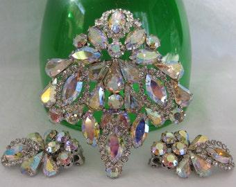 Flawless Bright WEISS Signed Demi Parure, Aurora Borealis Ice Rhinestones, Vintage Brooch & Matching Earrings