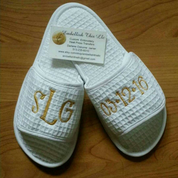 spa slippers waffle weave pattern personalized slippers
