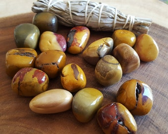 Mookite in shades of Gold ~ One medium/large Reiki Infused tumbled stone approx 1-1.25 inches