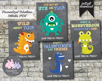 Little Monster Valentines Cards / Personalized Valentines / Kids Valentines / Custom Valentine Card / Class / Instant Download / Printable