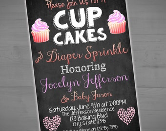 Cupcakes and Diapers Baby Shower Invitation - Diaper Sprinkle Chalkboard Invite - Printable or Printed - SHIPPING INCLUDED - 4x6