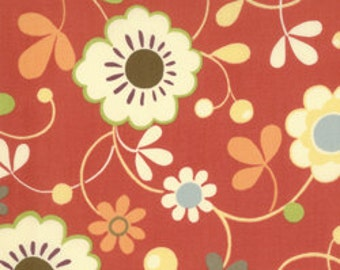Flowers on red background Freebird quilting fabric 32241 11T