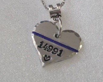 Thin Blue Line Necklace - Police Girlfriend -Badge Number -  Police Wife Necklace- Police Wife - Police Officer -Police Gift -Police Jewelry