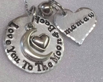 Love You To The Moon & Back - Hand Stamped Necklace - Metal Stamped Jewelry - Saying Jewelry - Hand Stamped Gift - Handmade Jewelry