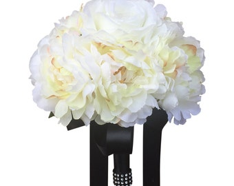 """8"""" Soft and Romantic Ivory Peony Rose bouquet - Pick Ribbon Color"""