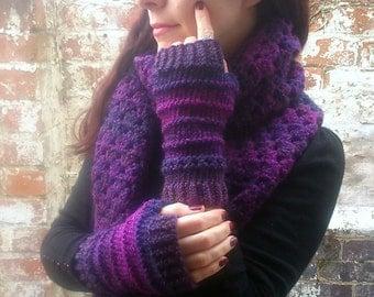 Purple Knit fingerless gloves , Women's arm warmers  knit wristwarmers  Festival accessories