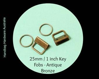 "25mm / 1"" (Inch) - Key Fob Clasp and Split Ring - Antique Bronze -  Hand bag Hardware Australia"