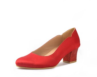 Red River Custom Made Lower Heels, Red Glitter Satin Wedding Shoes, Bright Red Satin Kitten Heels