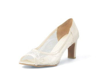 Sweet Memory Custom Made White Lower Heels, Transparent Lace Lower Heels, See-through Ivory Lace Heels