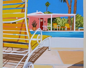 Mid Century Modern Eames Retro Limited Edition Print from Original Painting Motel Pool Chaise