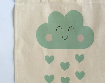 Happy cloud tote bag. Shopping bag. Cloud gifts. Canvas bag. Bag for life. Reusable bag. Market bag