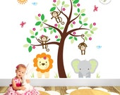 Jungle Wall Decal feat. friendly safari nursery animals cheeky monkey cute baby elephant brown tree baby wall stickers gender neutral