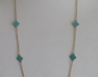 "Gold Plated Long Clover Necklaces,36"" Long, Turquoise enamel clover,Mother's day gift, four leaf clover,Gift for her"