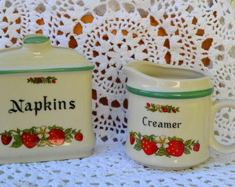 Vintage Ceramic Strawberry Napkin And Creamer