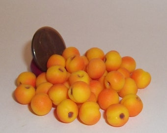 Miniature Dollhouse Realistic TWO Peaches Fruit Foods 1:12 #2056