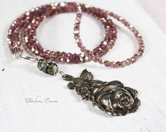 VINTAGE ROSE necklace pendant vintage boho Pink Silver