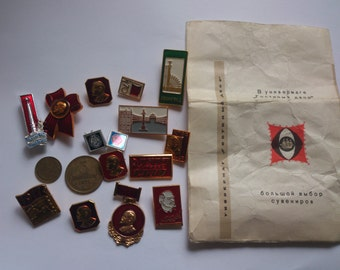vintage collection of Russian pin badges