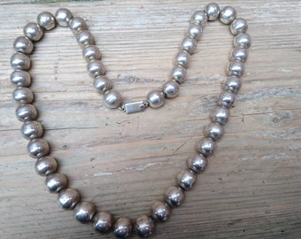 Large bead Vintage sterling silver Mexican necklace