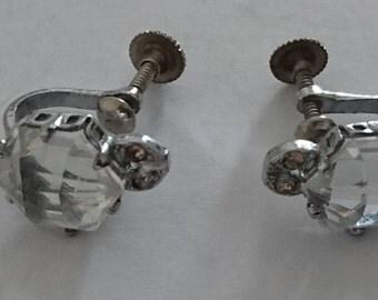 vintage rhinestone screw-back earrings