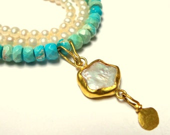 Gold Necklace - 18K Gold Necklace - Turquoise Necklace - pearls Necklace - Fine gold Necklace - Seeds Collection - Free Shipping!!!