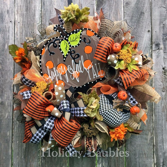 Happy Fall Y All Fall Wreath Thanksgiving Wreath Fall
