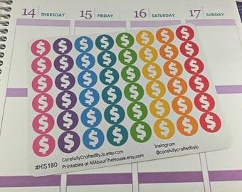 Dollar Sign Planner Stickers, Rainbow Sticker, Pay, Money, Dollars, Cash, Icon Sticker, Erin Condren, Plum Paper, MAMBI, planner accessory