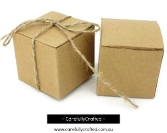 Set of 10, 20, 30 - Kraft Boxes - 5cm x 5cm x 5cm - Perfect for gifts, weddings and more!