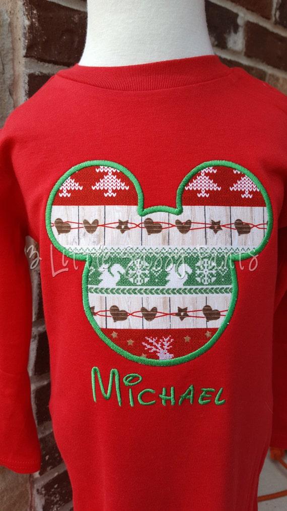 Mickey Mouse Christmas Embroidered Shirt Mickey Holiday