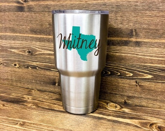 """Vinyl Decals for """"Yeti"""" Cups Personalized with State and Name"""