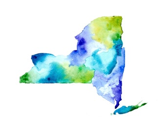NYS Watercolor Giclee - blues, greens and purples