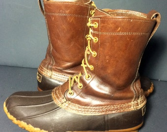 LL Bean Dark Brown Leather & Robber Duck Rain Vintage Boot Women's Size 9