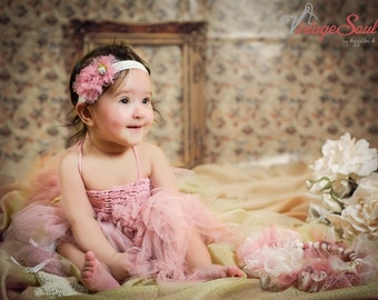 Handmade Baby Tulle Dress with Stretch Crochet Top - FREE SHIPPING