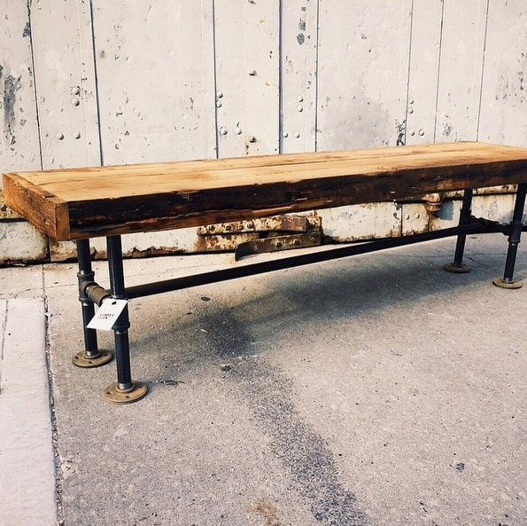 Reclaimed Wood Black Iron Pipes Bench