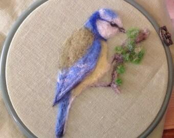 2D Needle Felted Picture Bluetit