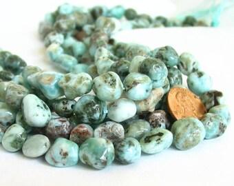 "15"" Larimar 8mm 10mm Blue polished freeform nugget gemstone beads  - Half / Full strand"