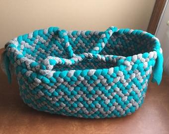 Bright Green and Herringbone totebag/craftbag