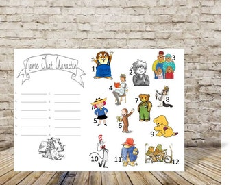 Baby Shower Game - Library Theme Baby Shower - Book Theme Baby Shower Game - Name That Character Game - Instant Download - Print at Home