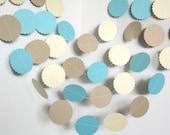 Circle Paper Garland,Sea Colors Garland,Ivory Aqua garland,Birthday Garland,Bridal Shower Garland,Wall decor Garland,Photo Prop Garland,10ft
