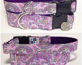 Purple, lilac and pink paisley dog collar