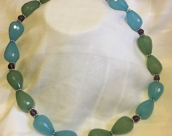 Blue and Green Beaded Necklace