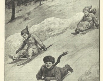 Children Sledding Sled Tobogganning Snow Childrens Print 1895 Engraving Wall Art Nursery Art Kids Art Wall Art Nursery Decor