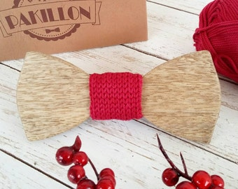 PAKILLON mod. Rudolph-wooden Christmas knitted knot bow tie-tie tie bowtie fashion hipster
