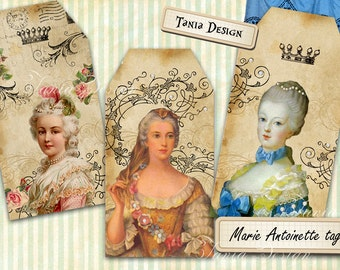 MARIE ANTOINETTE - Digital Collage Sheet 2.5x4.8 inch size Gift Tags Vintage Paper Craft Greeting cards Printable download