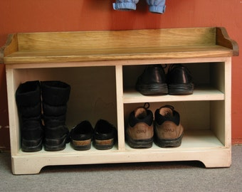 White Shoe Bench / White Cubby Bench / Entryway Bench / Mudroom Organizer
