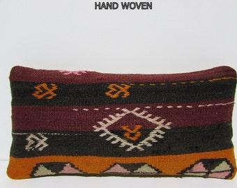 kilim pillow 10x20 turkish kelim pillow kilim decorative pillow kilim pillowcase floor pillow kilim throw pillow kilim cushion black G166