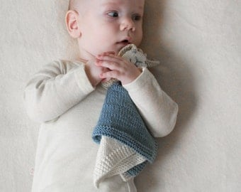 Eco Friendly Baby Toy - Hand Knit Baby Security Blanket from Organic Cotton - Baby Comforter - Bunny Baby Toy - Made to Order