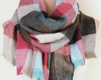 Winter Blanket Plaid Scarf Oversize Soft Women Scarf Thick Women Pashmina Poncho Shawl Stoles Warm Scarf Fall Winter Fashion Christmas Gift
